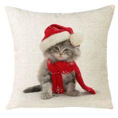 Xmas Christmas Cat Home Festival Pillow Case Cover pillowcase
