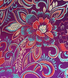 Brocade Fabric-Floral Spray Teal Tan