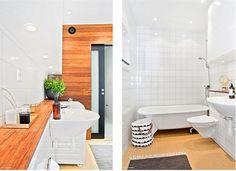 tabla de madera bajo el lavabo de Arriaza, que pase sobre el inodoro (estrechándose antes) a modo de estantería. Se podría poner un par de tablas de la misma madera sobre el retrete y dejar el mueble bajo el lavabo blanco.