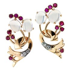 1940s Moonstone Ruby Diamond Gold Retro Earrings