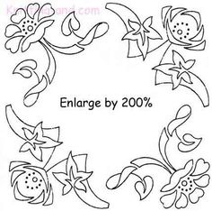 Square embroidery design with art deco style flowers