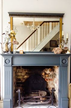 Terrific Images vintage Fireplace Mantels Style Farrow and ball Downpipe painted fire surround by Emma Connolly Designs. Grey Fireplace, Paint Fireplace, Small Fireplace, Fireplace Surrounds, Painted Fireplace Mantels, Fireplace Mirror, Mantles, Painted Mantle, Fireplace Ideas