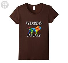 Womens Kings Are Born In January Funny Birthday Gift Exclusive Tee Large Brown - Birthday shirts (*Amazon Partner-Link)