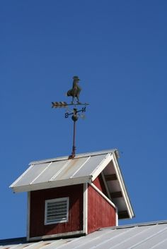 Rooster weathervane on barn