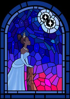 *TIANA ~ The Princess and the Frog, Tiana stained glass Disney Stained Glass, Stained Glass Art, Disney Fan Art, Disney Pixar, Disney Princess Tiana, Tangled Princess, Princess Merida, Disney Princesses, Princesa Tiana