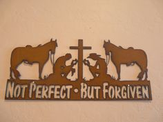 Rustic Metal Cowboy Cross Praying Not Perfect But by rusticstar1, $21.99