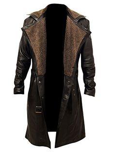 Blade Runner Fur Coat Mens Brown Fur Lapel Collar Black Trench Leather Coat