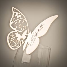 50 x Ivory Butterfly Wedding Lasercut Wine Glass Table Name / Place Cards