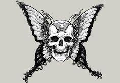 Butterfly skull skull skull artwork, skull и sugar skull tat Skull Butterfly Tattoo, Butterfly Tattoo Designs, Flower Skull Tattoos, Skull Coloring Pages, Half Skull, Totenkopf Tattoos, Girls With Sleeve Tattoos, Sugar Skull Tattoos, Skull Artwork