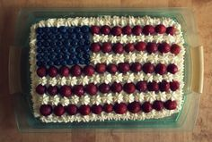 made this delicious U.S. flag cake for a farewell party
