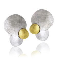 Coin Drop Earrings handcrafted by Enric Majoral in sterling silver and 18k yellow gold with a signature etched finish.