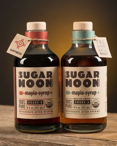 Sugar Moon Maple Syrup Packaging by Andrea Romero, via Behance