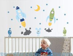 Rocket Fabric Wall Decal  Retro Space Art  by ToodlesDecalStudio
