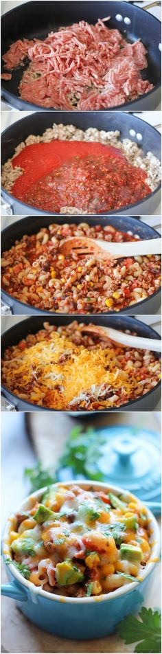 One Pot Mexican Skillet Pasta Ingredients 1 tablespoon olive oil 1 pound ground turkey 1 can tomato sauce 2 cups salsa, homemade or store-bought 2 cups cooked elbows pasta 1 Roma tomato,… Turkey Recipes, Mexican Food Recipes, Beef Recipes, Cooking Recipes, Healthy Recipes, Skillet Recipes, Skillet Meals, Delicious Recipes, Meat Recipes