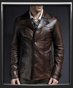 Vintage leather jacket with 70s collar  It's called the Heist.