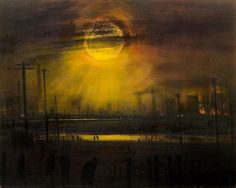 Yellow Sun at Wigan by artist Theodore Major. His paintings give an apocalyptic view of the northern industrial landscapes of the past. Yellow Sun, English Artists, Art World, The Past, Industrial, Fine Art, Cityscapes, North West, Collages