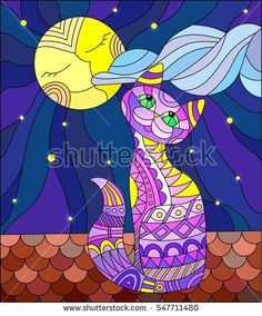 Illustration in stained glass style with purple cat sitting on the roof of the house in the background of the moon and the sky