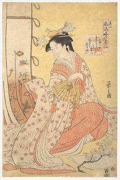 Ono no Komachi Chôbunsai Eishi (Japanese, 1756–1829) Period: Edo period (1615–1868) Culture: Japan Medium: Polychrome woodblock print; ink and color on paper