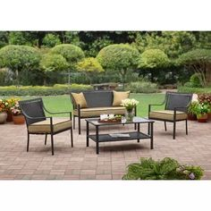Braddock Heights 4 Piece Patio Conversation Set, Seats 4