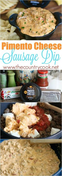 Pimiento Cheese Sausage Dip recipe from The Country Cook. Only 4 ingredients and you can keep it warm in a crock pot. I couldn& get enough of this. The best! Sausage Dip, Cheese Sausage, Sausage Recipes, Slow Cooker Recipes, Crockpot Recipes, Cooking Recipes, Yummy Appetizers, Appetizer Recipes, Elegant Appetizers