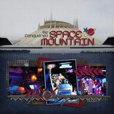 Space Mt Disney Scrapbook Pages, Scrapbooking Layouts, Digital Scrapbooking, Space Mountain, Mountain Pics, Disney World Magic Kingdom, Disney Rides, Disney Mouse, Walt Disney World Vacations