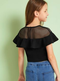 To find out about the Girls Mesh Yoke Ruffle Trim Crop Top at SHEIN, part of our latest Girls Blouses ready to shop online today! Teenage Girl Outfits, Girls Fashion Clothes, Kids Outfits Girls, Cute Girl Outfits, Sporty Outfits, Cute Outfits For Kids, Trendy Outfits, Kids Fashion, Fashion Outfits
