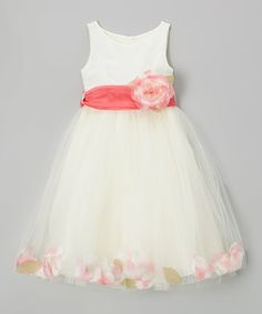 Love this Ivory & Coral Rose Petal Dress - Girls by Cinderella Couture on #zulily! #zulilyfinds