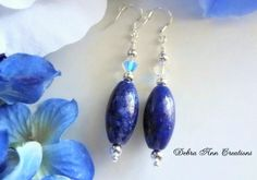 Blue Lapis Earrings Grade ALapis Lazuli by DebraAnnCreations.etsy.com Copyright