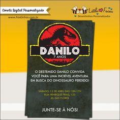 Convite Festa Jurassic Park Dinossauro para festa jurássica de seu filhote. Logo personalizado com o nome e idade de seu filhote. Super fofo! Já na lojinha!