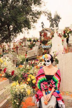 Mixquic cemetery on Dia De Los Muertos~Image © The Cherry Blossom Girl.