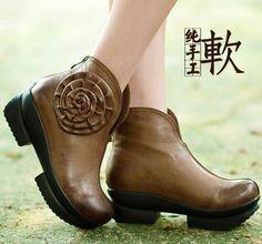 秋冬手工女皮靴英伦风复古马丁靴短筒女靴厚底舒适高跟粗跟防水台-淘宝网