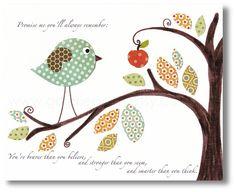 детская художественная - питомник стены искусства - ребенок питомник искусство - дети искусства - Детские комнаты декор - дети птицы - Обещай мне - Винни Пух печати