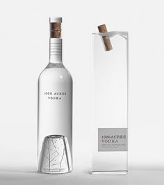 The cork that looks like cork frozen in water and the birch tree twigs found at the bottom of the glass just captures the origins of where vodka comes from. 1000 Acres Vodka proves that investment in bottle design will always be king. Packaging World, Cool Packaging, Beverage Packaging, Bottle Packaging, Brand Packaging, Design Packaging, Coffee Packaging, Chocolate Packaging, Packaging Ideas