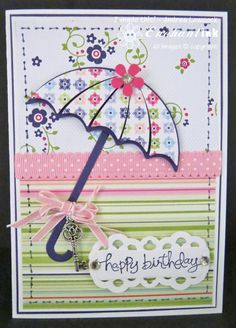 My Favorite Things - Umbrella Die . Hand Made Greeting Cards, Making Greeting Cards, Greeting Cards Handmade, Kids Birthday Cards, Handmade Birthday Cards, Umbrella Cards, Stamping Up Cards, Get Well Cards, Diy Cards