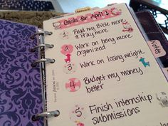 Goals list with Masking Stickers (Filofax inspiration)