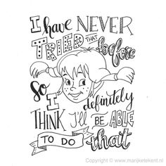 Handlettering door www. Calligraphy Quotes Doodles, Brush Lettering Quotes, Lettering Design, Round Robin, Kids Book Club, Pippi Longstocking, Alphabet, Sketch Notes, Quotes White
