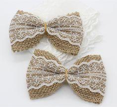 2,71 euros 10 unids arpillera de yute arpillera cinta del Bowknot / Vintage decoración de la boda del arte / arpillera cordón de Scrapbooking del arco del pelo / artesanal sombrero #133 - 2