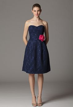 Aria Bridesmaids. Style 276KP, strapless lace bridesmaid dress with a sweetheart neckline, $198,