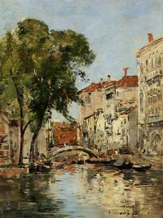A Small Canal in Venice by Eugene-Louis Boudin - Canvas Art Print Manet, Eugene Boudin, Venice Painting, French Artists, Canvas Art Prints, Great Artists, Art Photography, Art Gallery, Fine Art