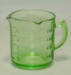 Green Depression Glass 1 cup measure Measuring Cup - Anchor Hocking marked