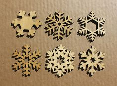 Laser Cut Christmas Ornament or Coaster Set: Snowflakes (Set of 4)