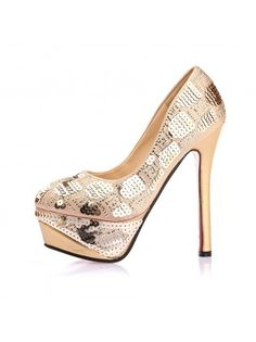 Leatherette Sequined High Heels
