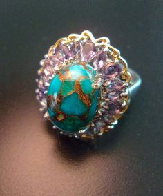 Mojave Turquoise & Iolite Sterling Silver Ring by RenaissanceFair