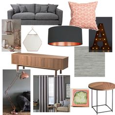 Grey, blush & copper living room