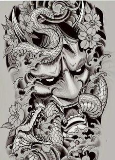 Japan Tattoo Design, Japanese Tattoo Designs, Tattoo Design Drawings, Tattoo Sleeve Designs, Tattoo Designs Men, Foo Dog Tattoo Design, Hannya Maske Tattoo, Oni Mask Tattoo, Hanya Tattoo