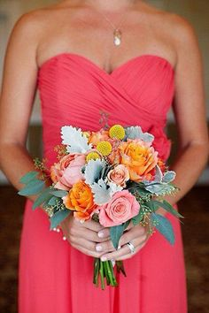 Bridesmaids Bouquet Inspiration with Free Spirit Roses, Peach Roses, Billy Balls, Dusty Miller, Eucalyptus