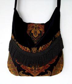 Black and Rust Tapestry Gypsy Bag Messenger Bag Bohemian  large bag renaissance bag messenger bag medieval bag by piperscrossing on Etsy https://www.etsy.com/listing/130896467/black-and-rust-tapestry-gypsy-bag