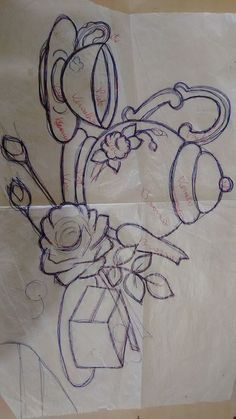 Flower Art Drawing, Flower Line Drawings, Hand Embroidery Patterns, Cross Stitch Embroidery, Embroidery Designs, Fruit Painting, Fabric Painting, Emoji Coloring Pages, Paisley Art