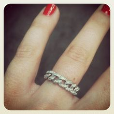 14k white gold and pave diamond chain link ring.