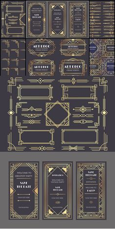 Art Deco design elements collection, vector frames, borders, corners and backgrounds for trendy cards --- This Art Deco collection is an easy way to give Art Deco Font, Motif Art Deco, Art Deco Pattern, Art And Craft Design, Art Deco Design, Design Crafts, Fuente Art Deco, Art Deco Artwork, Art Deco Borders